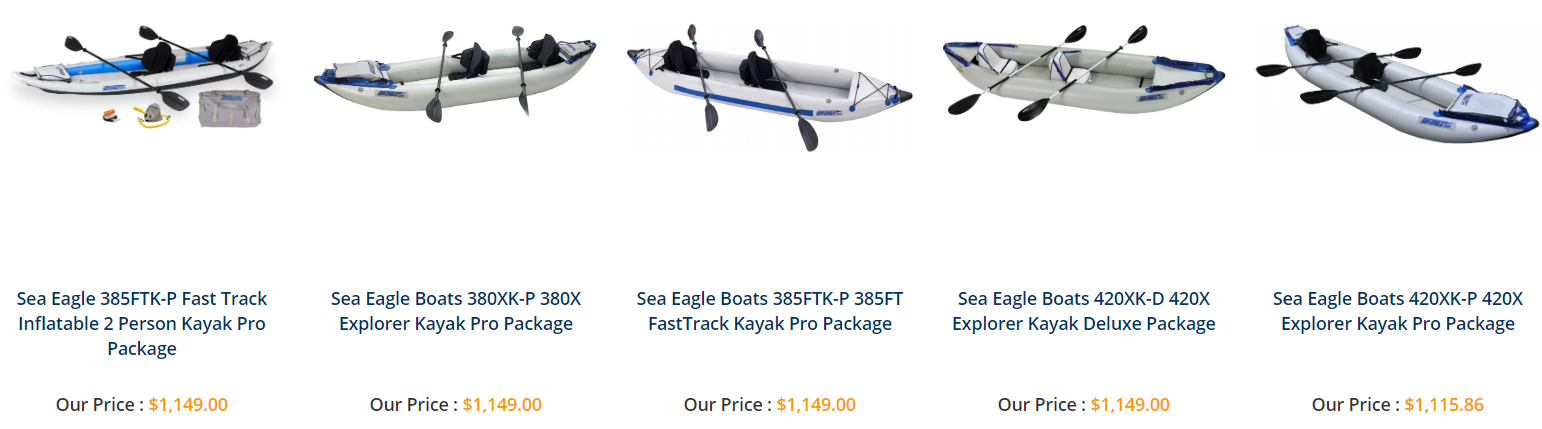 Different types of kanoe kayak