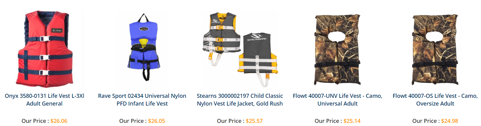Adults and kids life vests